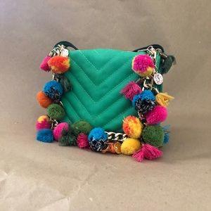 ALDO crossbody bag with tassels and Pom poms